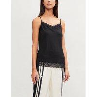 The White Company Lace-trim stretch-jersey camisole, Women's, Size: 12, Black