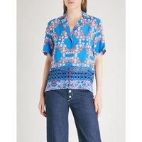 Floral-pattern crepe shirt