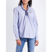 Frilled-collar cotton top
