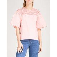Lace-panel cotton top