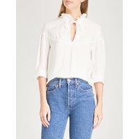 Drawstring-neck woven blouse