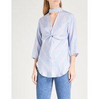 Printed polka-dot pattern silk blouse