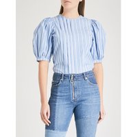 Puff-ball sleeves cotton blouse