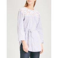 Lace-detail striped cotton blouse