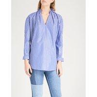 Lace-panel striped cotton shirt