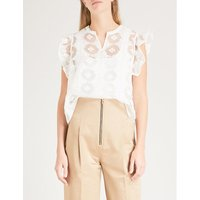 Floral-embroidered tulle and silk top