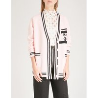 Striped-trim wool and cashmere-blend cardigan