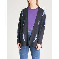Lightning bolt-intarsia knitted cardigan