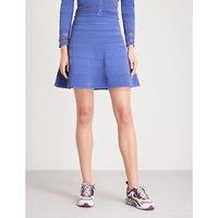 A-line pointelle-knit mini skirt