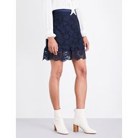 Rose-embroidered lace skirt