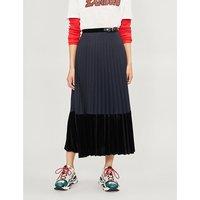 Velvet-panel pleated woven skirt