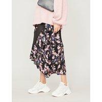 Floral print panelled crepe skirt