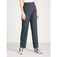 Pinstriped straight woven trousers