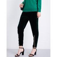 High-rise straight-leg velvet trousers