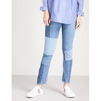 Patchwork-detail skinny high-rise jeans