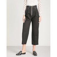 Tapered-leg cotton trousers