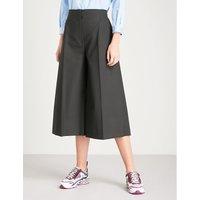 Wide-leg woven trousers