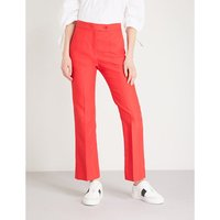 Flared cotton-blend trousers