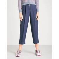 Tapered cropped high-rise woven trousers