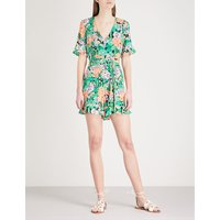 All-over floral print silk playsuit