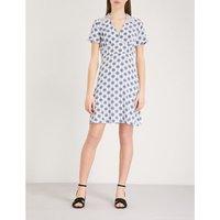 Geometric-pattern silk dress