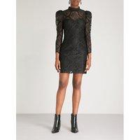 Puff-sleeve floral-lace mini dress