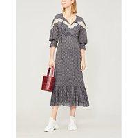 Sandro Ladies Black Floral-Print Woven Maxi Dress