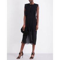 Sandro Lace-trim chiffon midi dress, Women's, Size: M, Black