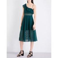 Ruffled cotton-blend midi dress