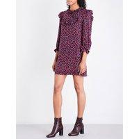 Rose-print ruffled silk dress