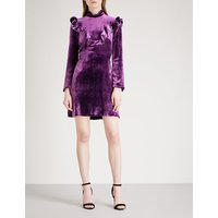 High-neck velvet dress