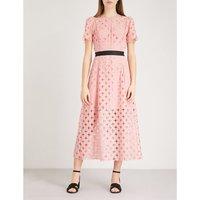 Cutout lace-embroidered midi dress