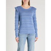 Ruffled stretch-knit jumper