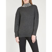 Faux pearl-embellished knitted jumper