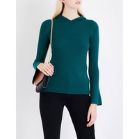Hooded flared-sleeve knitted top