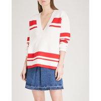 Striped V-neck knitted jumper