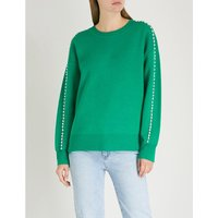 Embellished-trim knitted jumper