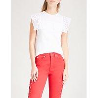 Lace-panelled cotton T-shirt