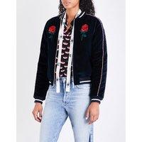 Embroidered reversible velvet jacket
