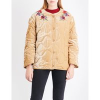 Floral-embroidered velvet jacket