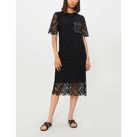 Ellis contrast-pocket crochet-lace dress