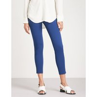 High-rise cropped stretch-cotton trousers