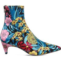 Atomic floral-print stretch-satin boots