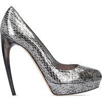 Horn heel metallic snakeskin heeled pumps