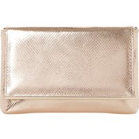 Dune Reptile-effect metallic clutch bag, Women's, Size: 1 Size, Rose gold-fabric