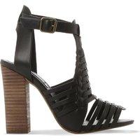 Steve Madden Sandrina leather heeled sandals, Women's, Size: EUR 41 / 8 UK, Black-leather
