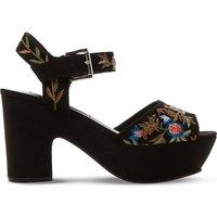 Steve Madden Bonnie embroidered faux-suede platform sandals, Women's, Size: EUR 36 / 3 UK WOMEN, Black-micro fibre