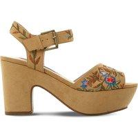 Steve Madden Bonnie embroidered platform sandals, Women's, Size: EUR 38 / 5 UK WOMEN, Tan-micro fibre