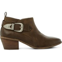 Steve Madden Bradi buckle-detail leather ankle boots, Women's, Size: EUR 36 / 3 UK WOMEN, Khaki
