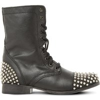 Steve Madden Ladies Black Studded Tarney Leather Boots